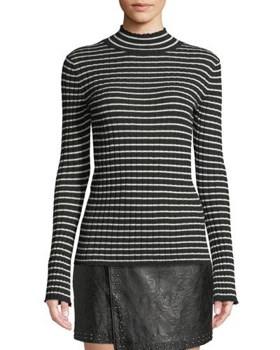 Gestina Striped Mock-Neck Sweater
