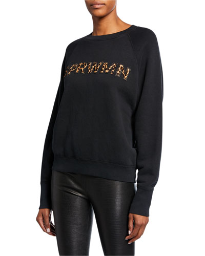 Crewneck Cotton Sweatshirt with Leopard Calf Hair Logo