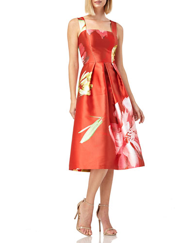 Floral-Print Sleeveless Mikado Dress w/ Pockets