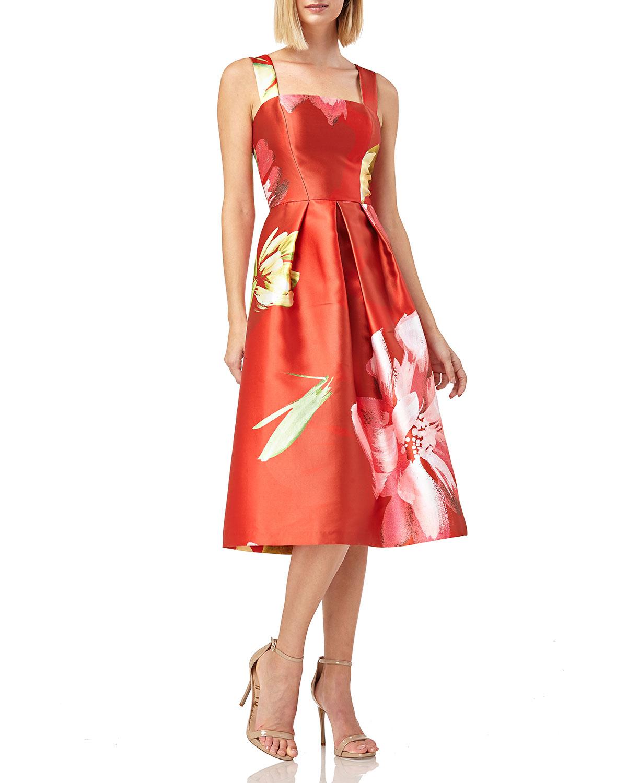 Kay Unger Dresses Floral-Print Sleeveless Mikado Dress w/ Pockets, CORAL MULTI