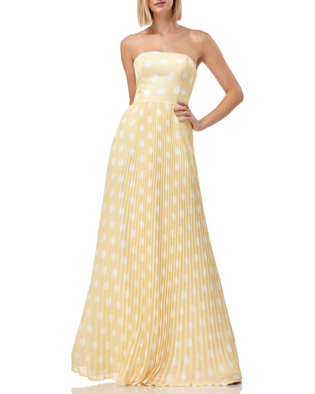 Kay Unger Skirts Polka-Dot Strapless Pleated Skirt Gown, YELLOW/WHITE