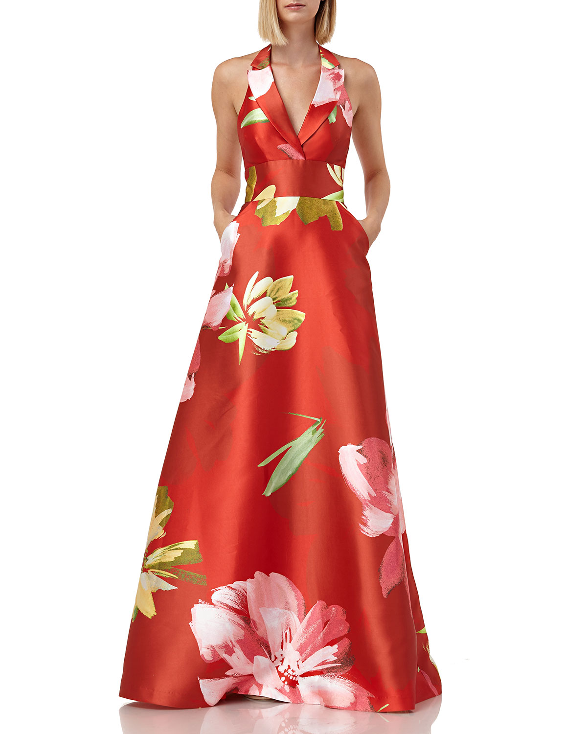 Kay Unger Tops Floral-Printed Mikado Halter Gown with Pockets, CORAL MULTI