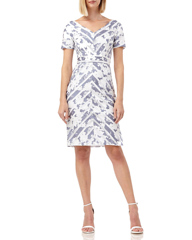 Kay Unger Dresses MITERED-STRIPES PORTRAIT-NECKLINE SHORT-SLEEVE DRESS