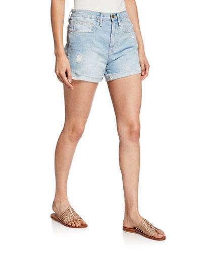 Le Brigette Cuffed Raw-Edge Shorts