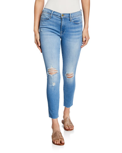 Le High Skinny Crop Double-Needle Raw-Edge Jeans