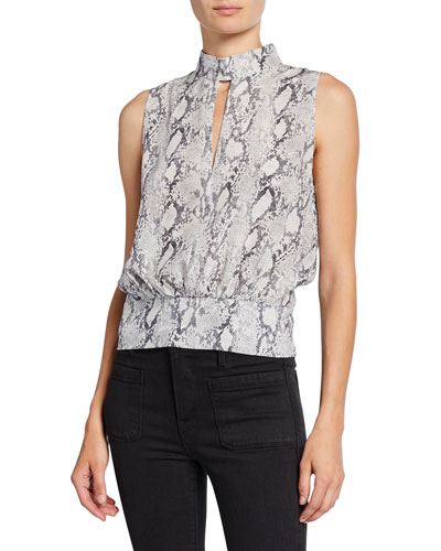 Sleeveless Snake-Print Party Top