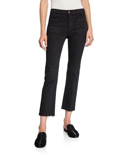 Le Bardot Straight Raw-Edge Jeans