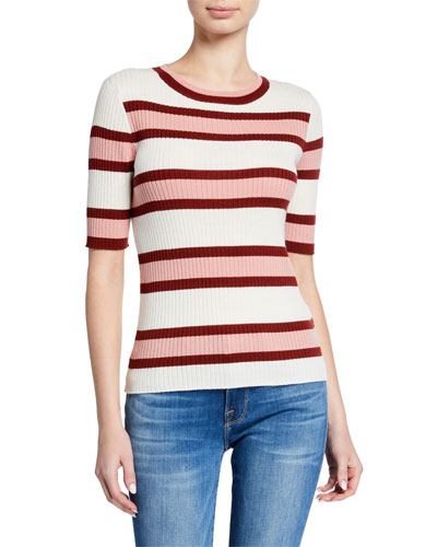 Panel Stripe Ribbed Short-Sleeve Sweater