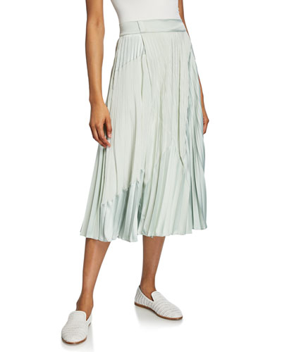 Mixed-Media Pleated Midi Skirt