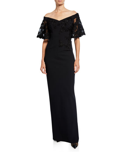 Off-the-Shoulder Embroidered Short-Sleeve Crepe Column Gown