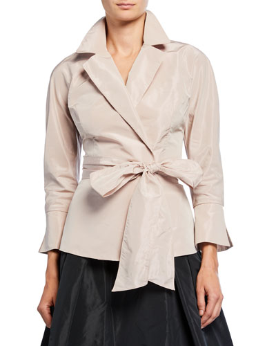 Bracelet-Sleeve Wrap Blouse with Notch Collar