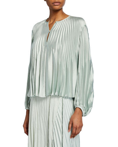 Chevron Pleated Blouson-Sleeve Blouse