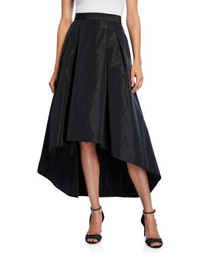 High-Low Taffeta Midi Skirt