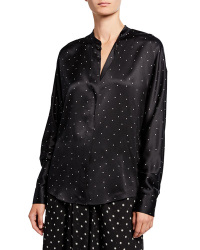 Dot-Print Long-Sleeve Silk Popover Top