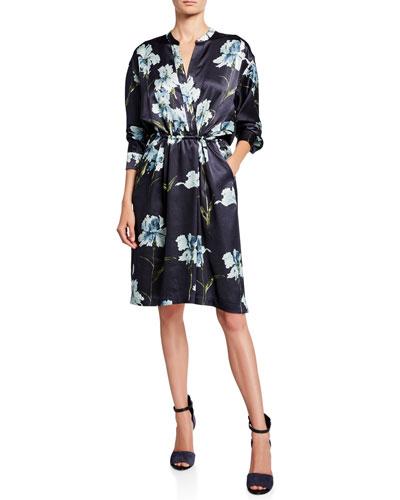 Iris-Print Long-Sleeve Satin Dress