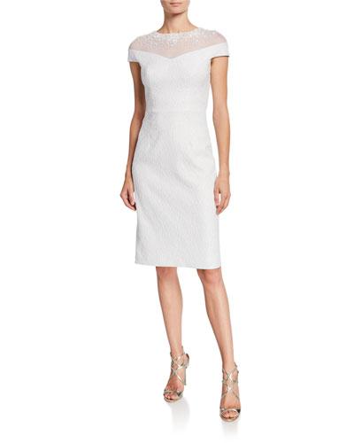 Beaded Illusion Stretch Jacquard Cap-Sleeve Sheath Dress