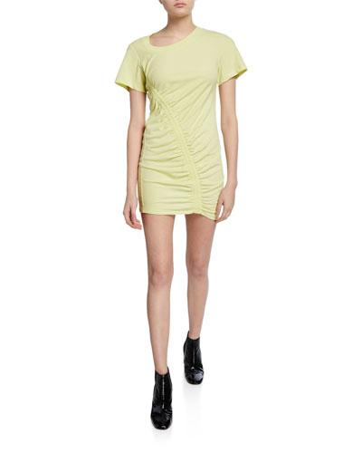 Short-Sleeve Asymmetric Ruched T-shirt Dress