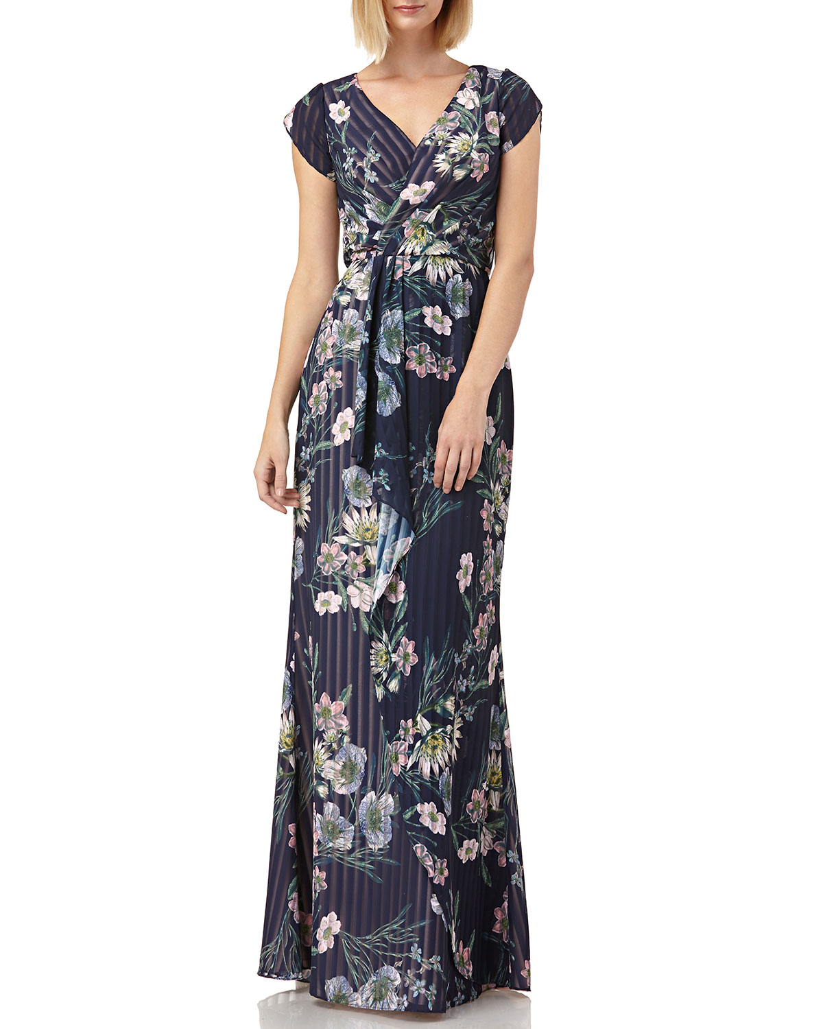 Kay Unger Tops FLORAL-PRINT STRIPED CHIFFON TULIP-SLEEVE BLOUSON GOWN