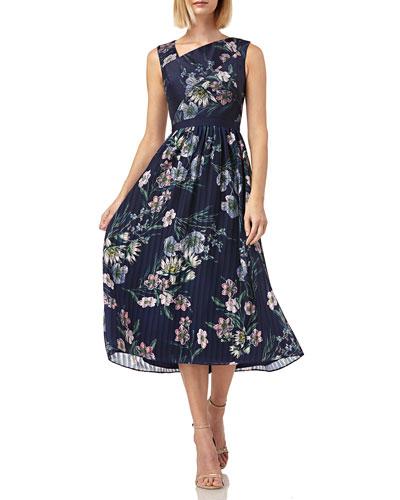 Floral-Print Asymmetric-Neck Sleeveless Midi Chiffon Dress