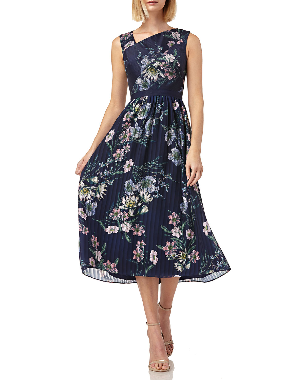 Kay Unger Dresses FLORAL-PRINT ASYMMETRIC-NECK SLEEVELESS MIDI CHIFFON DRESS