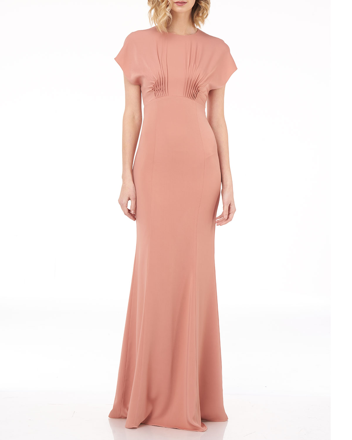 Kay Unger Tops DOLMAN-SLEEVE COLUMN GOWN WITH PINTUCKS