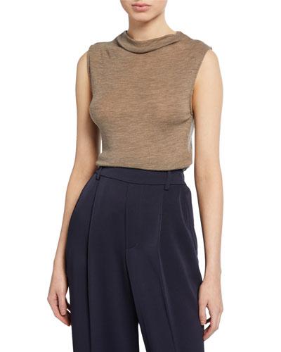 Sleeveless Wool Funnel-Neck Top