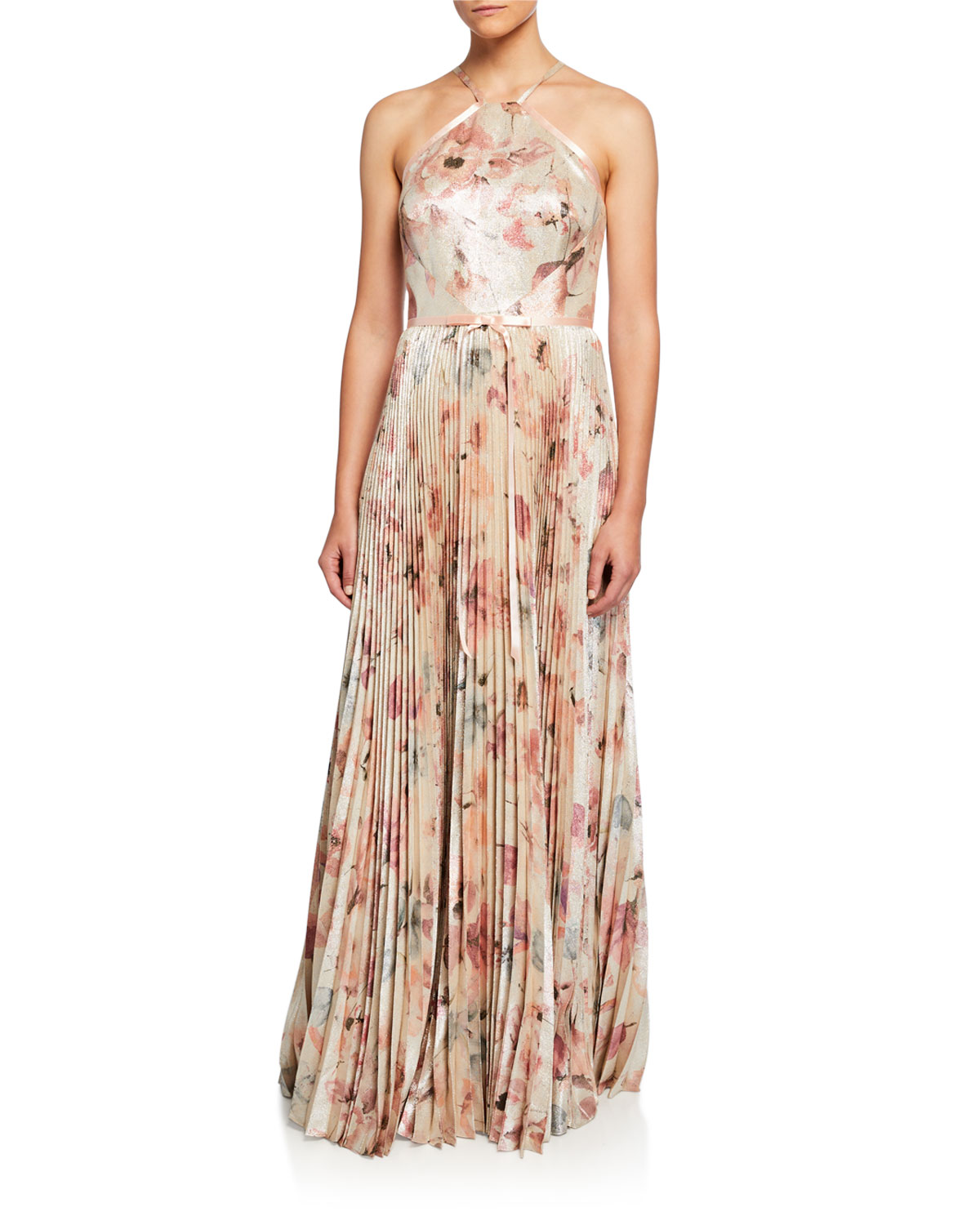Marchesa Notte Skirts FLORAL LAME HALTER GOWN WITH PLEATED SKIRT