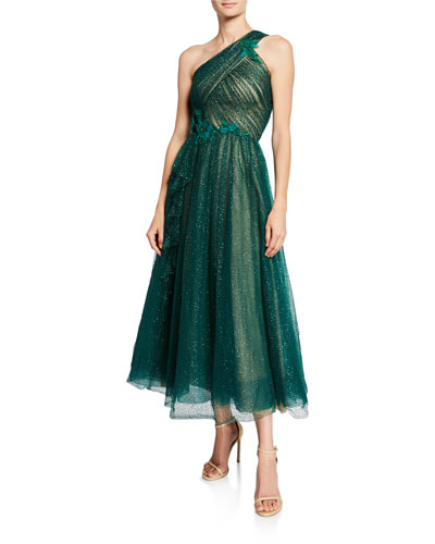 One-Shoulder Glittery Tulle Midi Gown w/ Beaded Floral Appliques