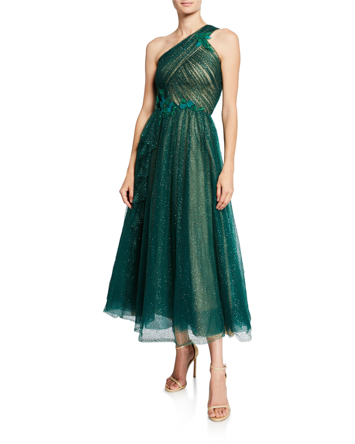 Marchesa Notte Tops ONE-SHOULDER GLITTERY TULLE MIDI GOWN W/ BEADED FLORAL APPLIQUES