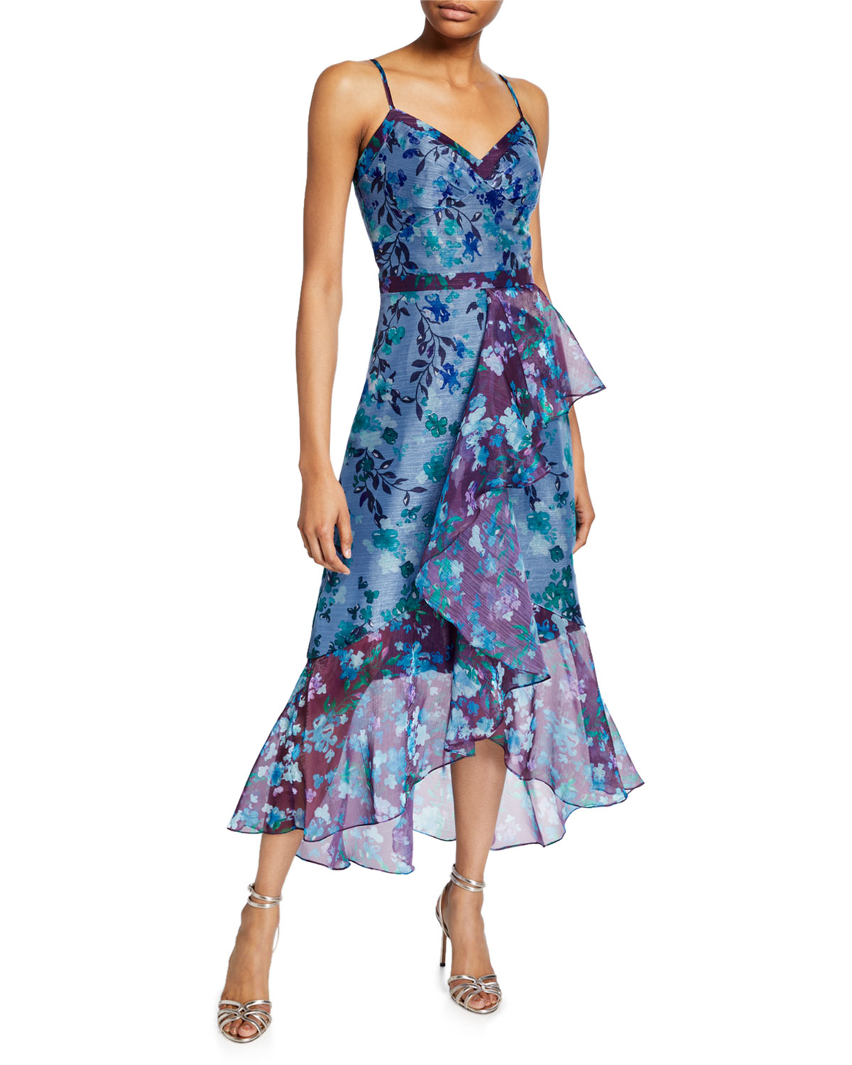Marchesa Notte Tops COLORBLOCK FLORAL ORGANZA SLEEVELESS HIGH-LOW SIDE-RUFFLE GOWN