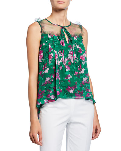 2c698c460279b4 Floral Printed Burnout Chiffon Sleeveless Blouse with Front Tie