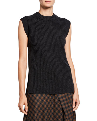 Wool/Cashmere Ribbed Sleeveless Tunic