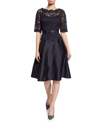Bateau-Neck Short-Sleeve Gazar A-Line Dress w/ Lace Overlay