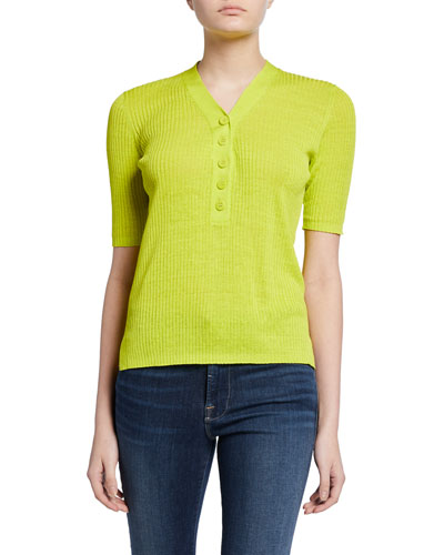 Paley Ribbed Short-Sleeve Sweater