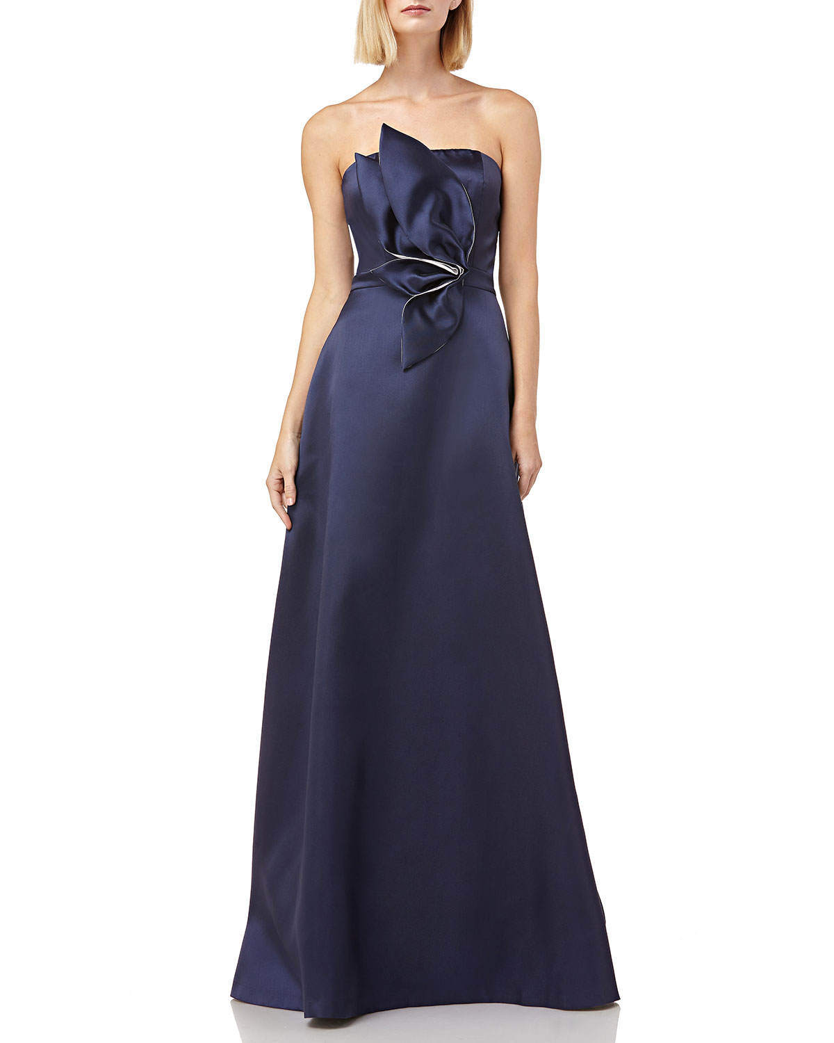Kay Unger Tops STRAPLESS MIKADO BALL GOWN W/ 3D FLOWER DETAIL & POCKETS