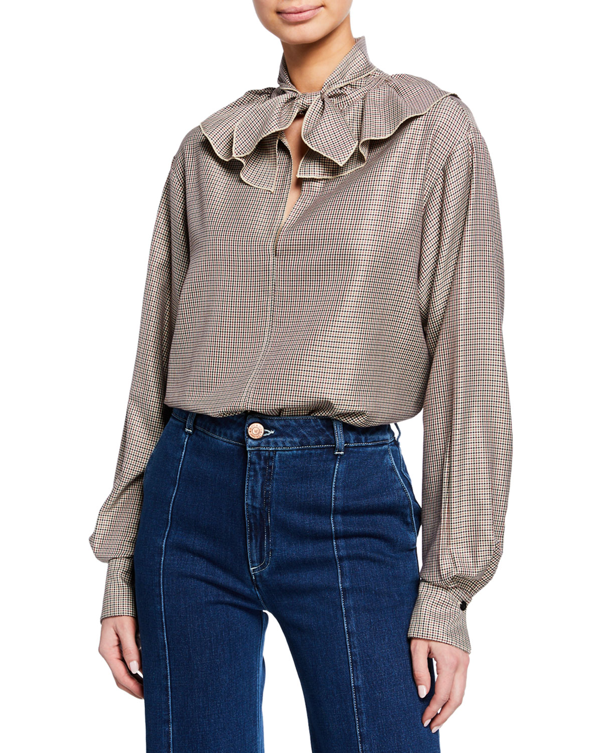 See By Chloé Tops TIE-NECK RUFFLE CHECK LONG-SLEEVE BLOUSE
