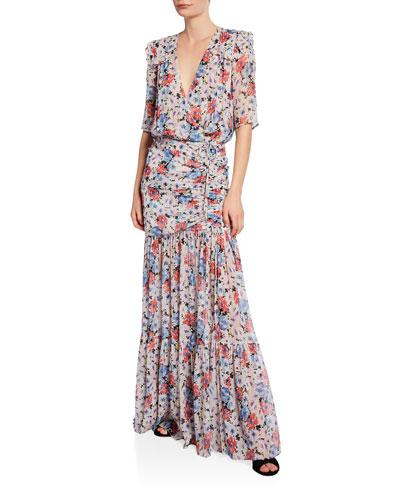 Mick Gathered Floral-Print Maxi Dress