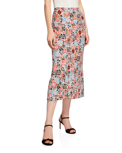 Diane Floral-Print Pencil Midi Skirt