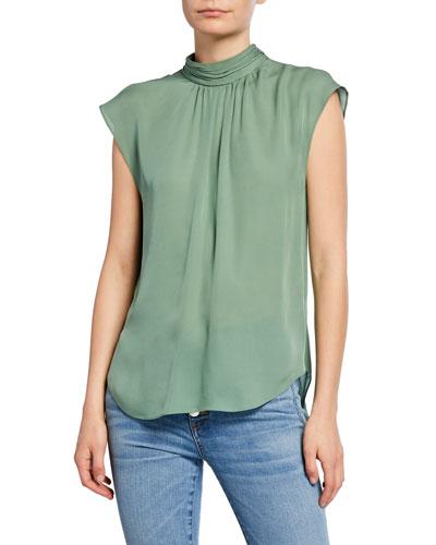 Tristen Mock-Neck Sleeveless Silk Blouse