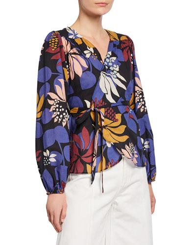 Floral-Print Long-Sleeve Wrap Top