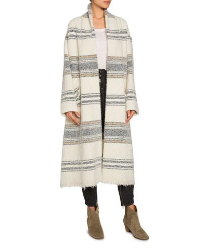 Faby Striped Wool-Alpaca Long Coat