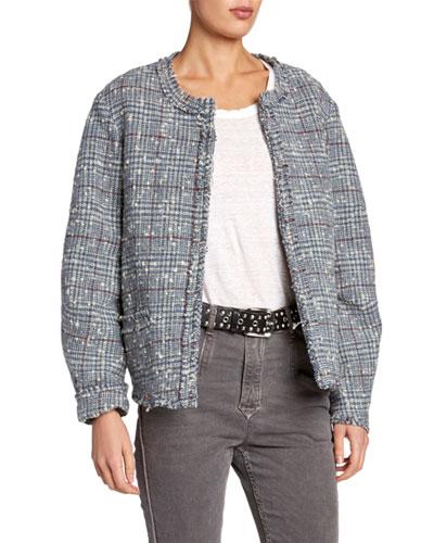 Ovia Collarless Tweed Jacket