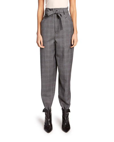 Vittoria High-Rise Check Wool Pants