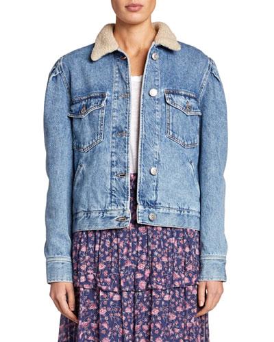 Nolinea Sherpa-Collar Puff-Sleeve Jacket