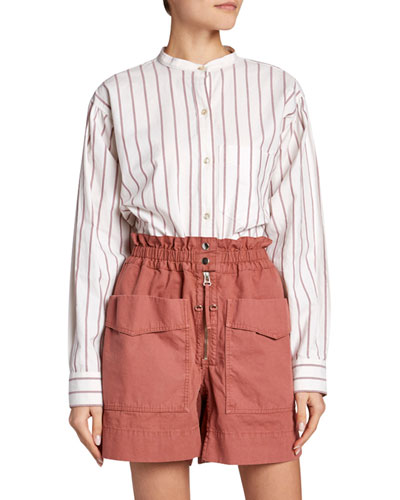 Satchell Striped Band-Collar Button-Down Top