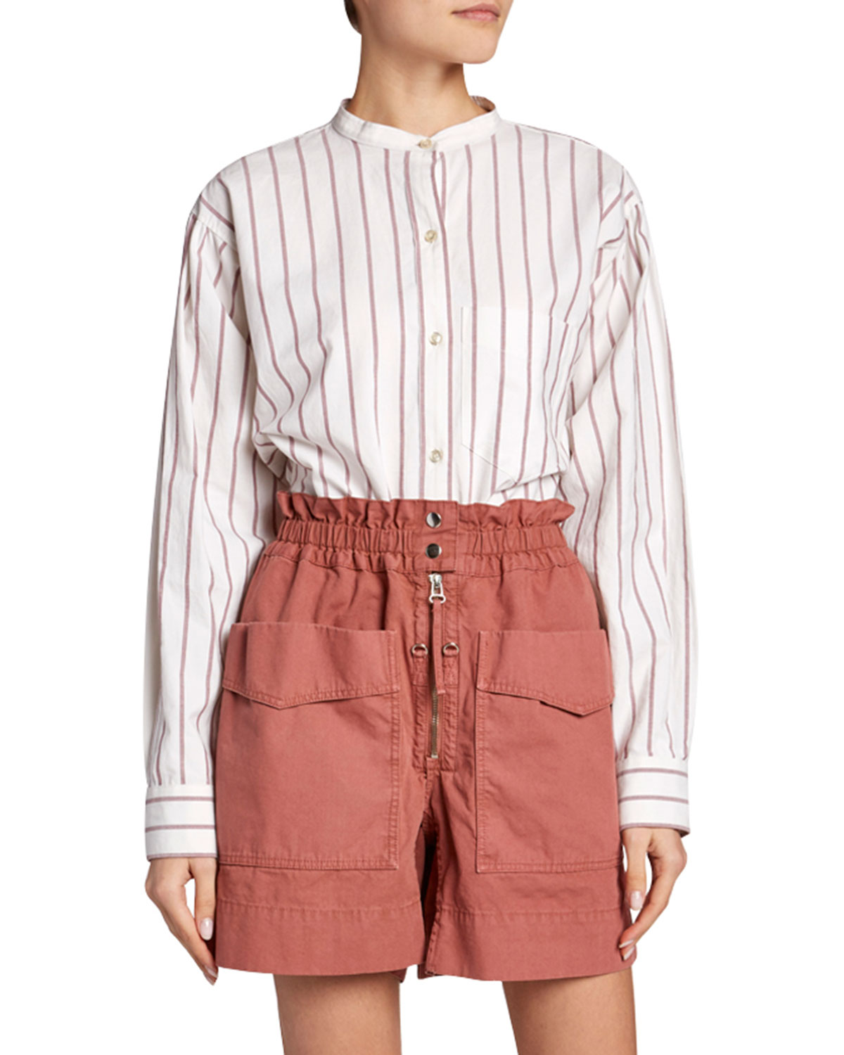 Etoile Isabel Marant Bags SATCHELL STRIPED BAND-COLLAR BUTTON-DOWN TOP