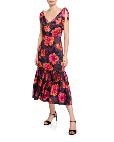Floral-Print Sleeveless Tie-Shoulder Midi Flounce Dress