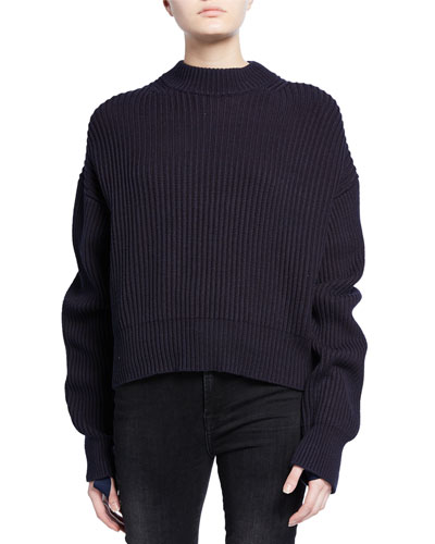 Wool/Cotton Ribbed Crewneck Sweater