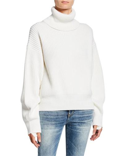 Cotton/Wool Oversized Turtleneck Sweater