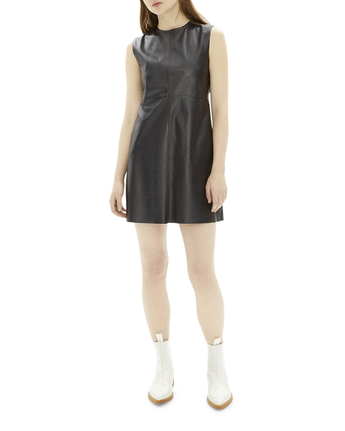 Helmut Lang Dresses CREWNECK OPEN-BACK MINI LEATHER DRESS